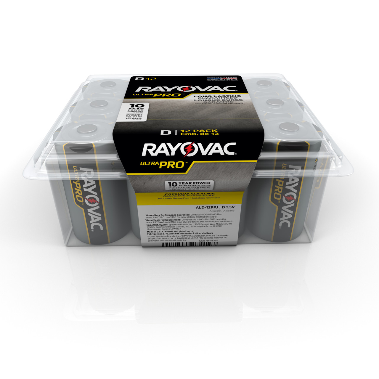 Energizer-Rayovac Battery, Type Alkaline, Voltage Rating 1.5V, Capacity 16.254Ah, Size Designation D, Size 34.2 MM Dia, 16.1 MM Height, Contents 12 Per Pack EDP: D
