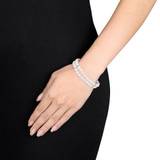 Cultured Pearl Double Strand Bracelet with Sterling Silver Clasp - 7500693817