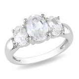 3 1/2 Carat Oval Created White Sapphire 3 Stone Ring in Sterling Silver - 7500696757
