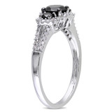 1 Carat Black & White Diamond 3-Stone 14K White Gold Engagement Ring with Black Rhodium - 7500699468