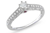 1/4 Carat Diamond 14K White Gold Bridal Engagement Ring - 7500696870