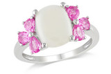 4 Carat Opal and Created Pink Sapphire Silver Ring - 7500702953