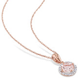 4/5 Carat Morganite and Diamond 10K Rose Gold Pendant with Chain - 7500701031