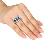 Created White Sapphire, Sky & London Blue Topaz Ring in Sterling Silver - 7500702946