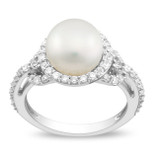1 Carat White Cubic Zirconia & 8.5-9mm White Freshwater Pearl Ring in Silver - 7500698188