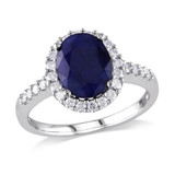 4 Carat Sapphire and Diamond Engagement Ring 14K White Gold - 7500698713