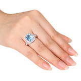 7 1/4 Carat Blue Topaz-Sky Created White Sapphire Ring in Silver - 7500699314