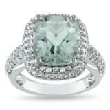 White Sapphire & Green Amethyst Ring Sterling Silver - 7500702915