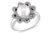 1/4 Carat Diamond & Cultured Pearl Sterling Silver Ring with Black Resin - 7500699932