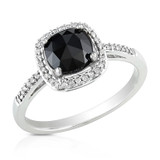 1 1/8 Carat Black & White Cushion Diamond Ring in 14K White Gold - 7500700089