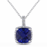 5 3/4 Carat Created Sapphire and Diamond Pendant with Chain - 7500702632