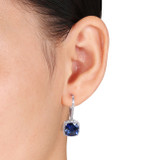 6 1/2 Carat Created Sapphire and Diamond Sterling Silver Earrings - 7500702656
