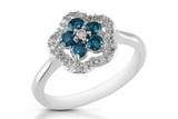 1/2 Carat Blue (Enhanced Colour) and White Diamond 14K White Gold Flower Ring - 7500700843