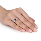 1 3/5 Carat Blue and White Created Sapphire and Diamond 10K White Gold Ring - 7500701000