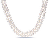 9-10mm Double-Strand Freshwater Pearl Necklace with Sterling Silver Clasp - 7500695187