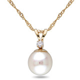 14K Gold 7-7.5mm Akoya Cultured Pearl and Diamond Pendant with Chain - 7500691653