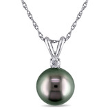 14K White Gold Tahitian Cultured Pearl Pendant with Chain - 7500691608