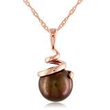14K Rose Gold Cultured Brown Freshwater Pearl Pendant with Chain - 7500692834
