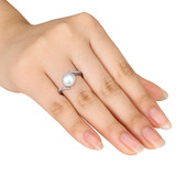 Diamond & Freshwater Pearl Sterling Silver Ring - 7500694944