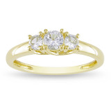 5/8 Carat Created White Sapphire 3-Stone Ring in 10K Yellow Gold - 7500697617