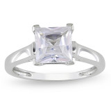 2 Carat Square Created White Sapphire Ring in 10K Yellow Gold - 7500696979