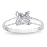1.07 Carat Created White Sapphire Solitaire Engagement Ring in 10K White Gold - 7500696962