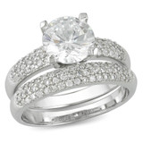 Sterling Silver Engagement & Wedding Round Cubic Zirconia Set - 7500698386