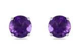 7/8 Carat Amethyst 14K White Gold Solitaire Earrings - 7500706906