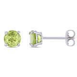 1 1/5 Carat Peridot 14K White Gold Solitaire Earrings - 7500706913