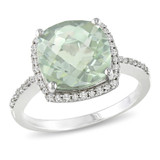1/10 Carat Diamond & 4 Carat Green Amethyst Ring in Silver - 7500700249