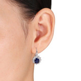 8 1/10 Carat Created Blue and White Sapphire & Diamond Sterling Silver Earrings. - 7500706708