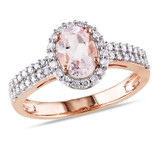 1 1/10 Carat Morganite and Diamond 10K Rose Gold Ring - 7500708474