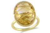 9 Carat Citrine 14K Yellow Gold Plated Silver Ring - 7500707934