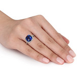 5 3/4 Carat Created Sapphire & 1/10 Carat Diamond Ring in Sterling Silver - 7500719722