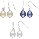 Set of 3 9-10mm Cultured Freshwater Pearl Drop Earrings - 7500499400