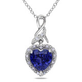 2 1/4 Carat Created Blue Sapphire and Diamond Heart Pendant in Sterling Silver - 7500080334