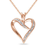 Pink Silver Diamond Heart Pendant in Sterling Silver - 7500080456