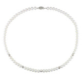 Freshwater White Pearl Necklace with Fisheye Clasp in Sterling Silver - 7500080606