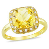 2 7/8 Carat Citrine and Diamond Fashion Ring in 10k Yellow Gold - 7500080725