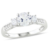 1 1/3 Carat Created White Sapphire and Diamond 3-Stone Ring in 10k White Gold - 7500080733