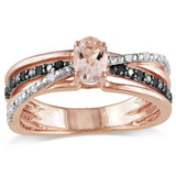 Pink Silver 1/2 Carat Morganite with Black & White Diamond Fashion Ring in Sterling Silver - 7500080771