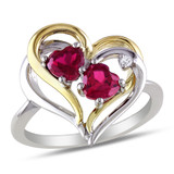 1 1/6 Carat Created Ruby Diamond Heart Ring in Sterling Silver - 7500080776