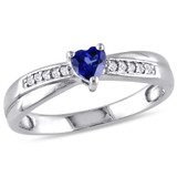 1/4 Carat Created Blue Sapphire and Diamond Ring in Sterling Silver - 7500080790