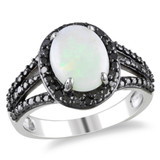 1 5/8 Carat Opal and Diamond Fashion Ring 1/10 Carat in Sterling Silver - 7500080803