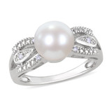 9-9.5mm Freshwater White Pearl and Diamond Ring in Sterling Silver - 7500080808