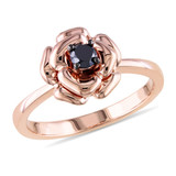 Pink Silver Black Diamond Fashion Ring in Sterling Silver - 7500080809