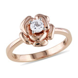 Pink Silver 1/3 Carat Created White Sapphire Fashion Ring in Sterling Silver - 7500080810