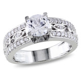 1 7/8 Carat Created White Sapphire Engagement Ring in Sterling Silver - 7500080825