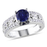 1 3/4 Carat Created Blue and White Sapphire Engagement Ring in Sterling Silver - 7500080826