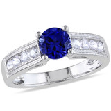 1 1/2 Carat Created Blue and White Sapphire Fashion Ring in Sterling Silver - 7500080829